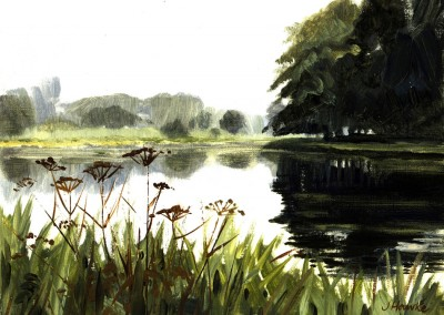 Blickling Lake, oil sketch