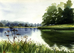 Blickling Lake watercolour