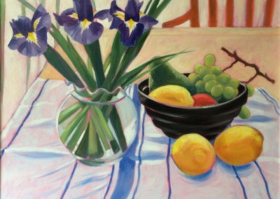 Irises and Lemons, oil