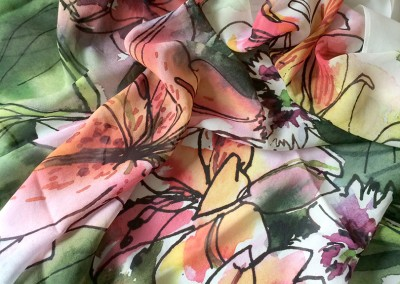 Lilies and Roses scarf draped