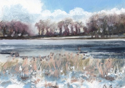 Snow at Blickling Lake, Norfolk