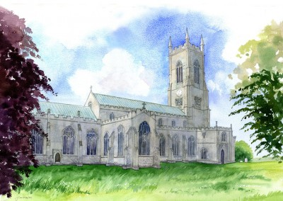 Salle church  watercolour