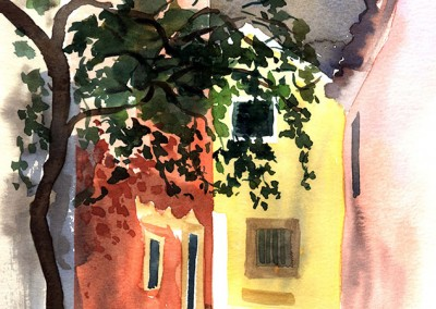 Lakones Courtyard, Corfu (after August Macke)